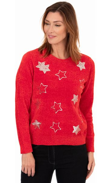 Festive Star Knitted Top Red/Silver
