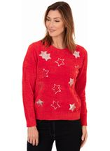 Festive Star Knitted Top Red/Silver - Gallery Image 1