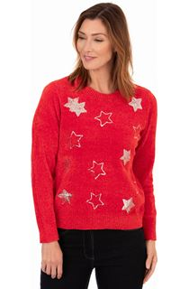 Festive Star Knitted Top - Red/Silver