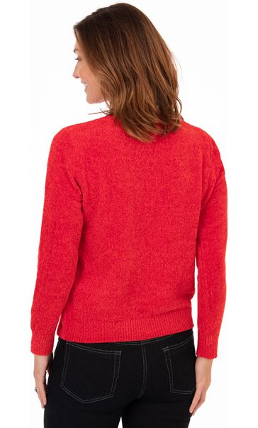 Festive Star Knitted Top Red/Silver - Gallery Image 2