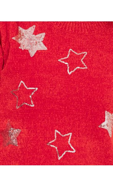 Festive Star Knitted Top Red/Silver - Gallery Image 3