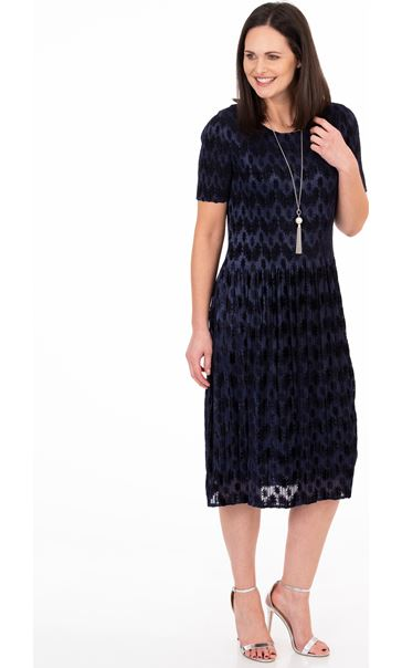 Flock Printed Pleat Midi Dress Midnight
