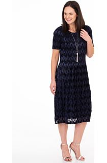 Flock Printed Pleat Midi Dress