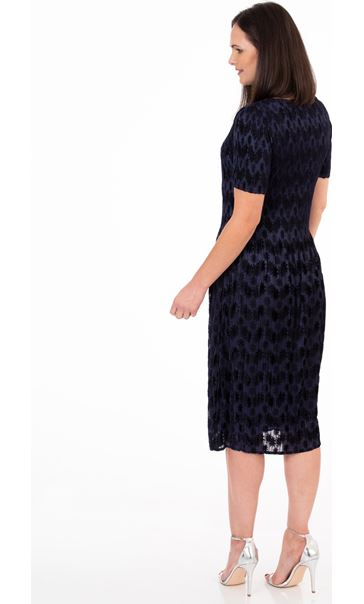 Flock Printed Pleat Midi Dress Midnight - Gallery Image 2