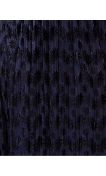 Flock Printed Pleat Midi Dress Midnight - Gallery Image 3