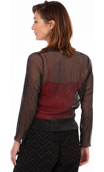 Sparkle Mesh Cover Up Black/Silver - Gallery Image 2