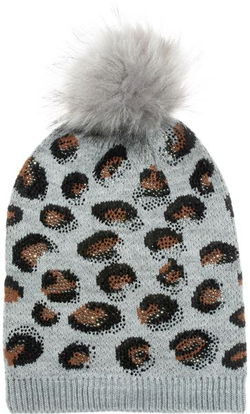 Embellished Animal Print Pom Pom Hat Grey