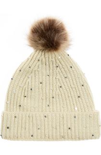 Embellished Pom Pom Hat - Beige/Brown
