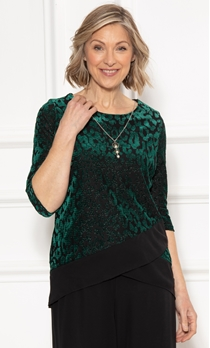Anna Rose Velour And Chiffon Top With Necklace