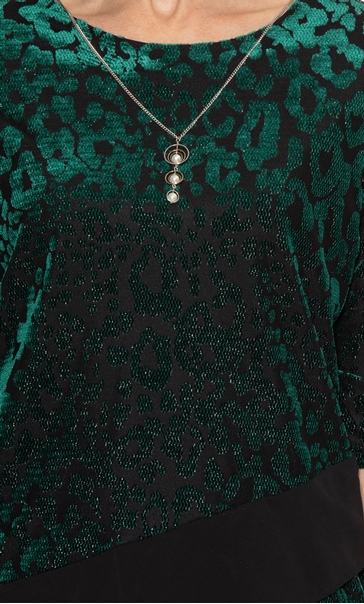 Anna Rose Velour And Chiffon Top With Necklace Green/Gold - Gallery Image 3