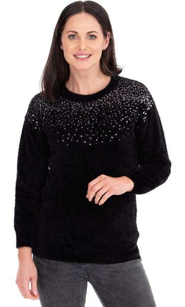 Sequin Trim Eyelash Knitted Top Black