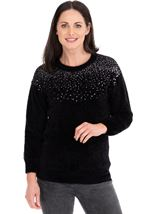 Sequin Trim Eyelash Knitted Top Black - Gallery Image 1