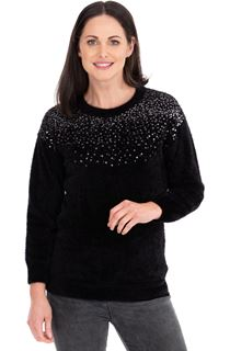 Sequin Trim Eyelash Knitted Top - Black