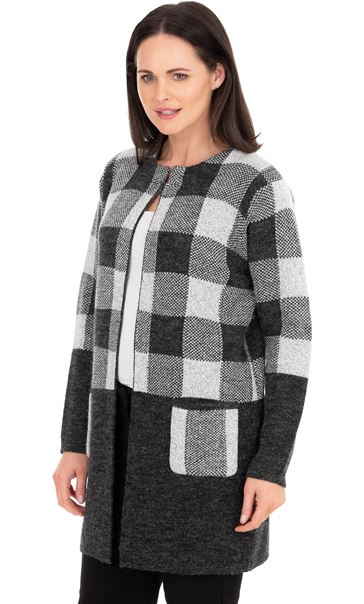 Checked Long Sleeve Cardigan