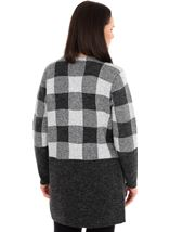Checked Long Sleeve Cardigan Grey - Gallery Image 2