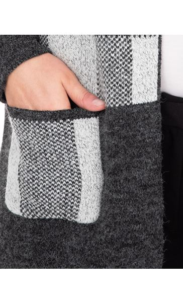 Checked Long Sleeve Cardigan Grey - Gallery Image 3