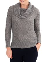 Anna Rose Shimmer Textured Cowl Neck Knit Top