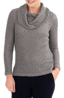 Anna Rose Shimmer Textured Cowl Neck Knit Top - Grey