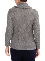 Anna Rose Shimmer Textured Cowl Neck Knit Top Grey - Gallery Image 2