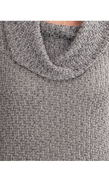 Anna Rose Shimmer Textured Cowl Neck Knit Top Grey - Gallery Image 3
