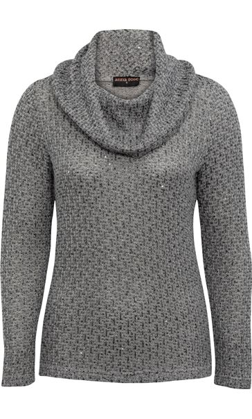 Anna Rose Shimmer Textured Cowl Neck Knit Top Grey - Gallery Image 4