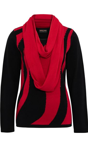Anna Rose Embellished Knit Top With Scarf Black/Red