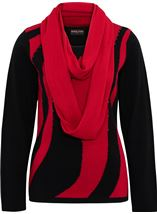 Anna Rose Embellished Knit Top With Scarf Black/Red - Gallery Image 1