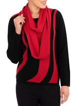 Anna Rose Embellished Knit Top With Scarf Black/Red - Gallery Image 2
