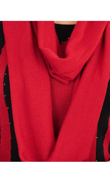 Anna Rose Embellished Knit Top With Scarf Black/Red - Gallery Image 4