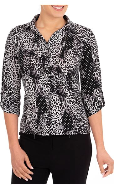 Anna Rose Printed Jersey Shirt With Necklace Black/Ivory