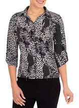 Anna Rose Printed Jersey Shirt With Necklace Black/Ivory - Gallery Image 1