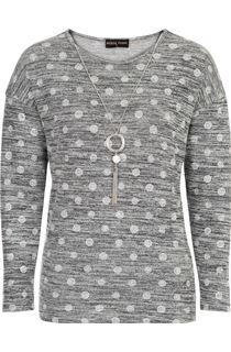 Anna Rose Spot Knit Top With Necklace