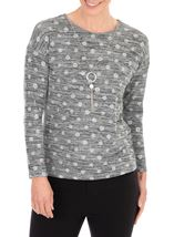 Anna Rose Spot Knit Top With Necklace Black/Silver - Gallery Image 2