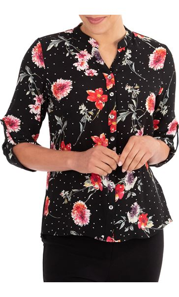 Anna Rose Floral Spot Blouse Black/Red