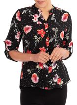 Anna Rose Floral Spot Blouse Black/Red - Gallery Image 1