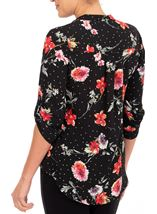 Anna Rose Floral Spot Blouse Black/Red - Gallery Image 2
