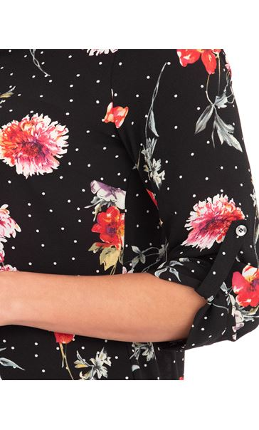 Anna Rose Floral Spot Blouse Black/Red - Gallery Image 4