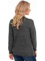 Patchwork Long Sleeve Knit Top Black/Grey - Gallery Image 2