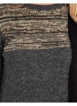 Patchwork Long Sleeve Knit Top Black/Grey - Gallery Image 3