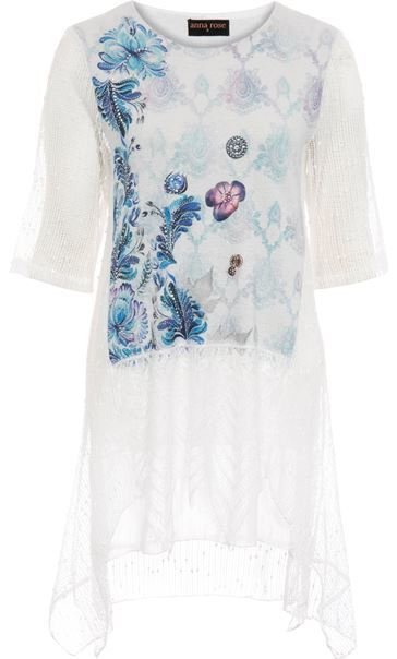 Anna Rose Print And Lace Layered Top