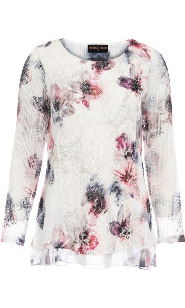 Anna Rose Printed Lace Layered Top Ivory/Pink/Blue