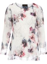 Anna Rose Printed Lace Layered Top Ivory/Pink/Blue - Gallery Image 1