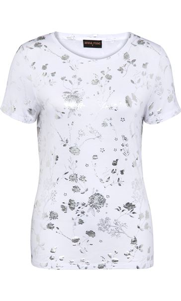 Anna Rose Floral Foil Print Top Ivory/Silver