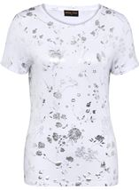 Anna Rose Floral Foil Print Top Ivory/Silver - Gallery Image 1