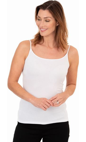 Adjustable Strappy Jersey Cami Top White