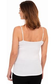 Adjustable Strappy Jersey Cami Top - White