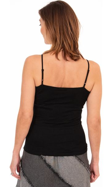 Adjustable Strappy Jersey Cami Top - Black