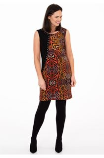 Printed Sleeveless Jersey Dress