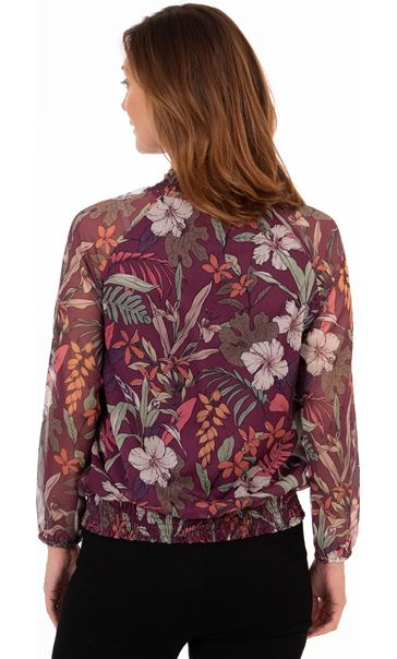 Floral Print Smocked Chiffon Top Multi - Gallery Image 2