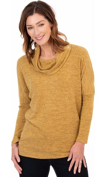 Cowl Neck Relaxed Fit Knitted Tunic Mustard/Black